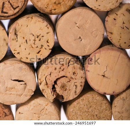 Closeup of a wall of used wine corks. - stock photo