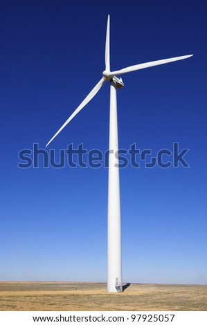closeup of a windmill for electric power production - stock photo