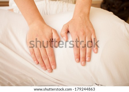 Closeup of a women giving energetic treatment in a spa. - stock photo