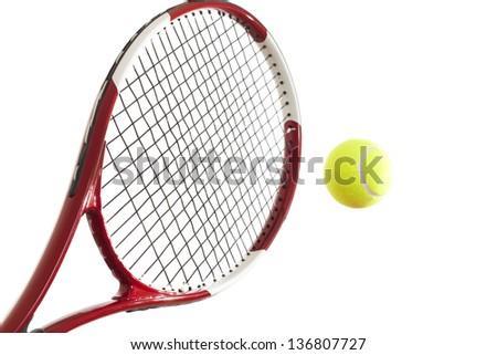 Closeup of a yellow tennis ball on white background - stock photo