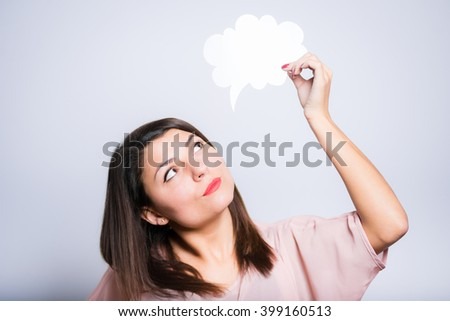 closeup of a young beautiful woman with a cloud of thoughts, sticker - stock photo