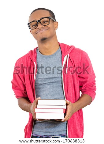 Closeup of a young smart handsome man, wearing big glasses, holding books, prepared and ready to ace his exam test finals, isolated on white background. Positive facial expressions, feelings, emotions - stock photo