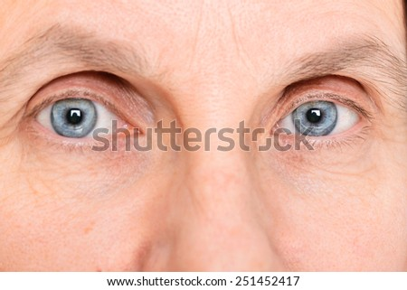 Closeup of adult woman eyes wearing soft contact lenses - stock photo