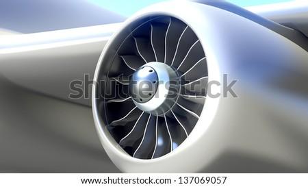 Closeup of Airplane Engine - stock photo