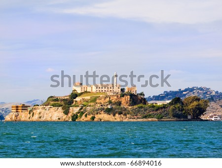 Closeup of Alcatraz island once a federal prison now a museum - stock photo