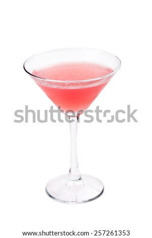 Closeup of alcoholic cocktail isolated on a white background  - stock photo