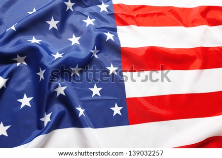 Closeup of American flag - stock photo