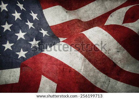 Closeup of American flag and texture composite - stock photo