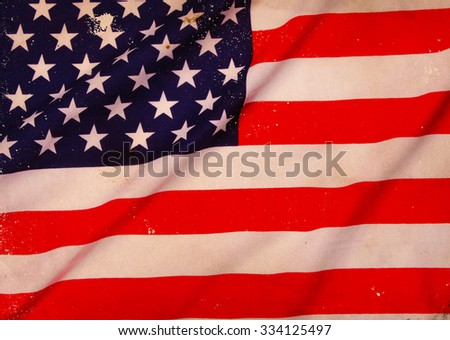 Closeup of  American flag. Background - stock photo