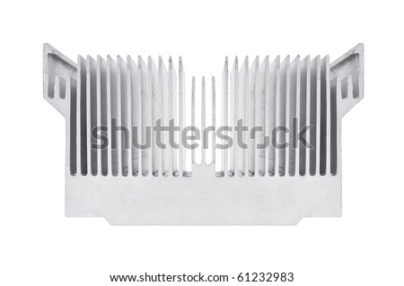 Closeup of an alluminium cpu cooler isolated on white - stock photo