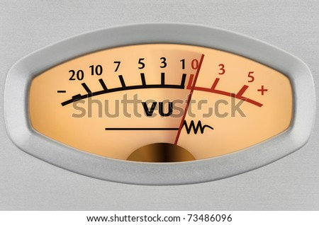 Closeup of an analog measuring device with the needle in motion - stock photo
