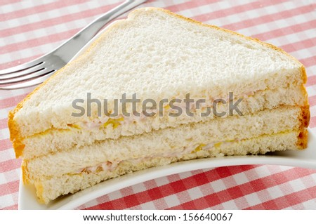closeup of an appetizing sandwich on a set table - stock photo
