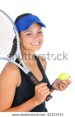 Closeup of an attractive young female tennis player with racket over her shoulder and a ball in her other hand. Vertical format isolated on white. - stock photo