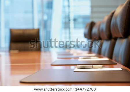 Closeup of an empty conference room before meeting - stock photo