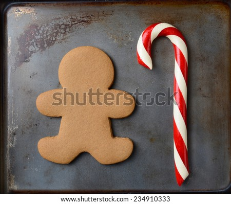 Closeup of an old fashioned candy cane and a gingerbread man on a metal cookie sheet. The cookie is undecorated. Square format. - stock photo