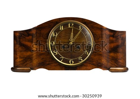 Closeup of an old watch with musical fight - stock photo