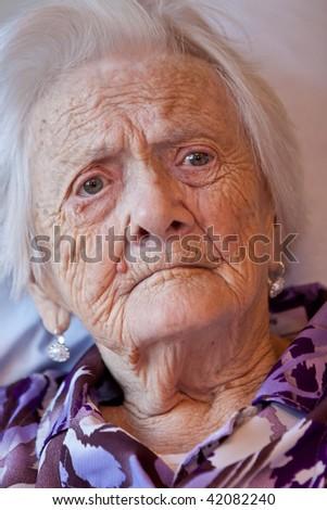Closeup of an old woman - stock photo
