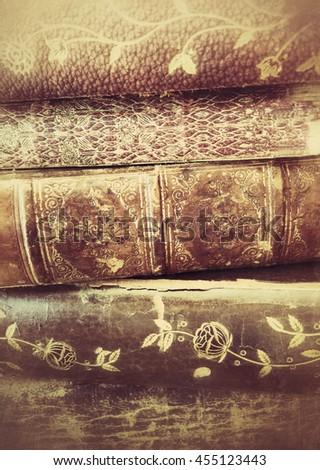 Closeup of antique book textures - stock photo