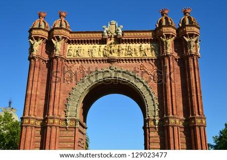 Closeup of Arc de Triomf in the city of Barcelona, Spain - stock photo