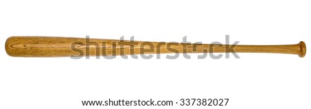 Closeup of baseball bat isolated on white background - stock photo