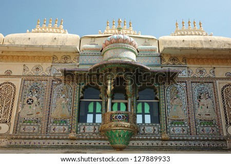 Closeup of beautiful balcony at Peacock square (Mor Chok) in Udaipur city palace, famous unesco heritage site of Rajasthan,India - stock photo