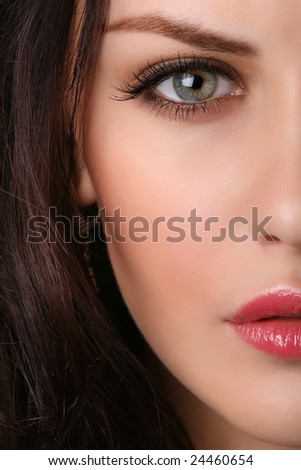 closeup of beautiful female face - stock photo