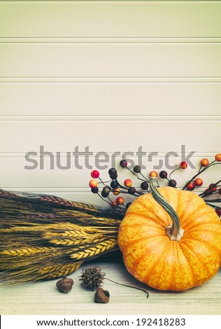 Closeup of Beautiful Mini Pumpkin with Wheat, acorns and berry arrangement on White Wood Background with room or space for copy, text.  Vertical vintage instagram. - stock photo