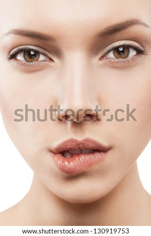 closeup of beautiful woman with clean skin - isolated - stock photo