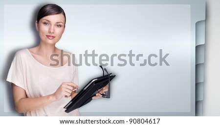Closeup of beautiful woman with electronic tablet against web site template - stock photo
