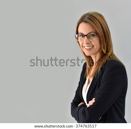 Closeup of beautiful woman with eyeglasses, isolated - stock photo