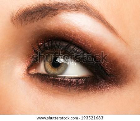 Closeup of beautiful womanish eye with makeup - stock photo
