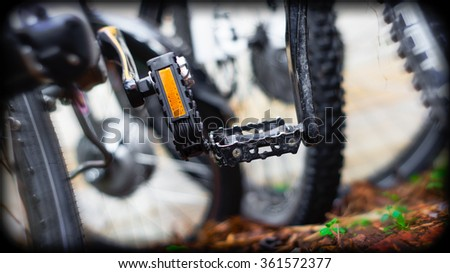 Closeup of bike pedals - stock photo
