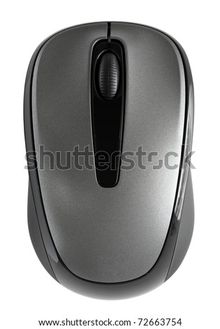 Closeup of Black Mouse isolated on White background - stock photo