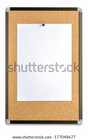 closeup of blank note paper on cork board  - stock photo