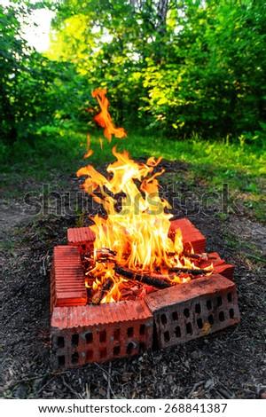 Closeup of blazing campfire coals - stock photo