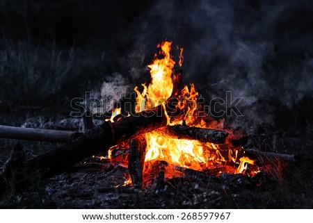 Closeup of blazing campfire coals in the night - stock photo