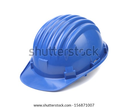 Closeup of blue hard hat. Isolated on a white background. - stock photo
