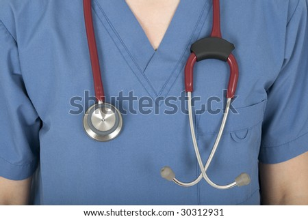 Closeup of blue nurse uniform and stethoscope. - stock photo