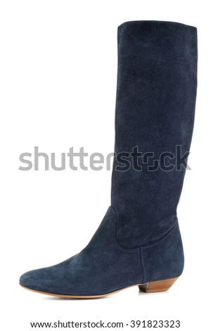 Closeup of blue suede boot against white background - stock photo