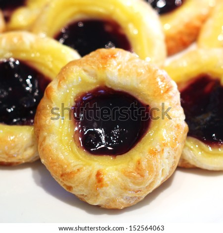 Closeup of blueberries danish dessert - stock photo