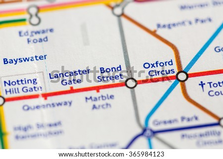 Closeup of Bond Street station on a map of the Jubilee metro line in London, UK. - stock photo