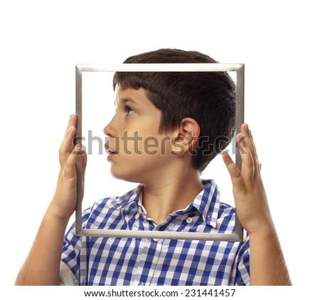 closeup of boy eating chocolate bar - stock photo