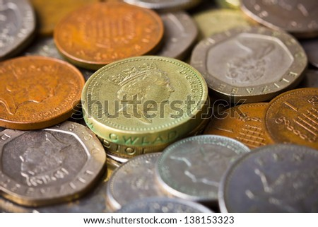 closeup of British pound coins - stock photo