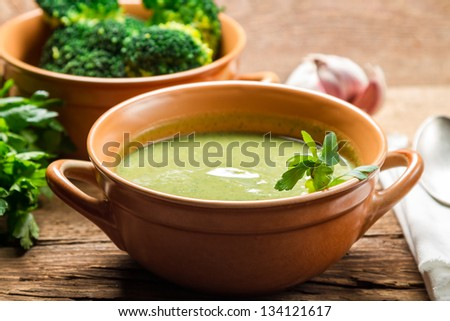 Closeup of broccoli soup made of fresh vegetables - stock photo