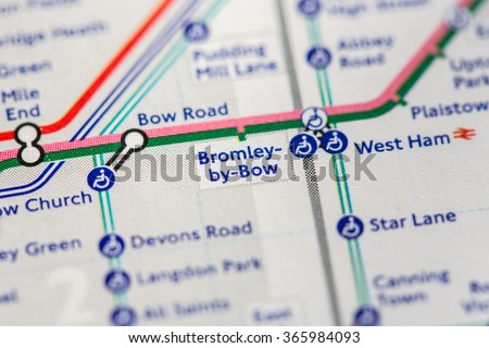 Closeup of Bromley-by-Bow station on a map of the Jubilee metro line in London, UK. - stock photo
