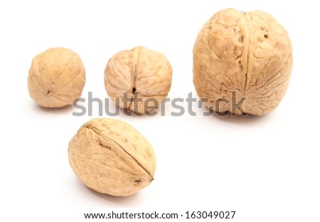 Closeup of brown and fresh walnuts isolated on white background - stock photo