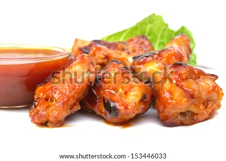 Closeup of buffalo chicken wings plate - stock photo