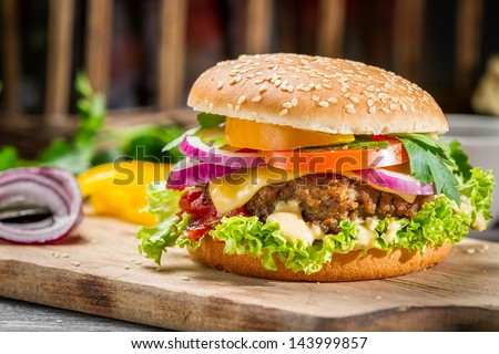 Closeup of burger made from vegetables - stock photo