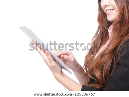 closeup of business woman smile using electronic tablet touch pc by finger touches the digital screen isolated on a white background, mode is a asian beauty - stock photo
