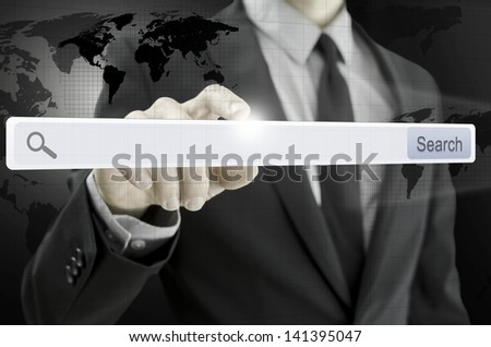 Closeup of businessman pointing at search bar on virtual screen. - stock photo